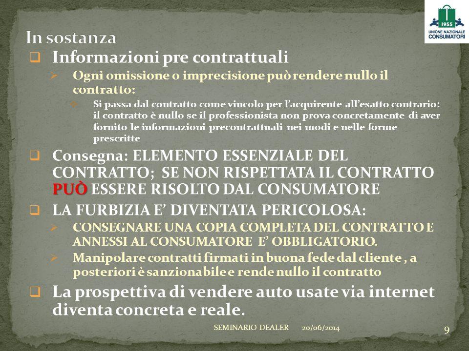  Informazioni pre contrattuali  Ogni omissione o imprecisione può rendere nullo il contratto:  Si passa dal contratto come vincolo per l'acquirente