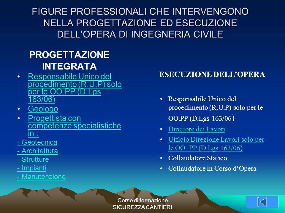 Corso di formazione SICUREZZA CANTIERI FIGURE PROFESSIONALI CHE INTERVENGONO NELLA PROGETTAZIONE ED ESECUZIONE DELL'OPERA DI INGEGNERIA CIVILE PROGETT