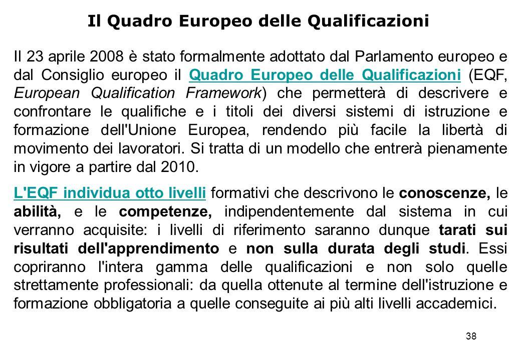 38 Il Quadro Europeo delle Qualificazioni Il 23 aprile 2008 è stato formalmente adottato dal Parlamento europeo e dal Consiglio europeo il Quadro Euro
