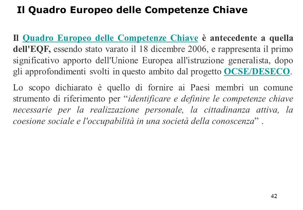 42 Il Quadro Europeo delle Competenze Chiave è antecedente a quella dell'EQF, essendo stato varato il 18 dicembre 2006, e rappresenta il primo signifi