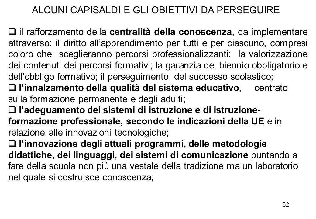 52  il rafforzamento della centralità della conoscenza, da implementare attraverso: il diritto all'apprendimento per tutti e per ciascuno, compresi c