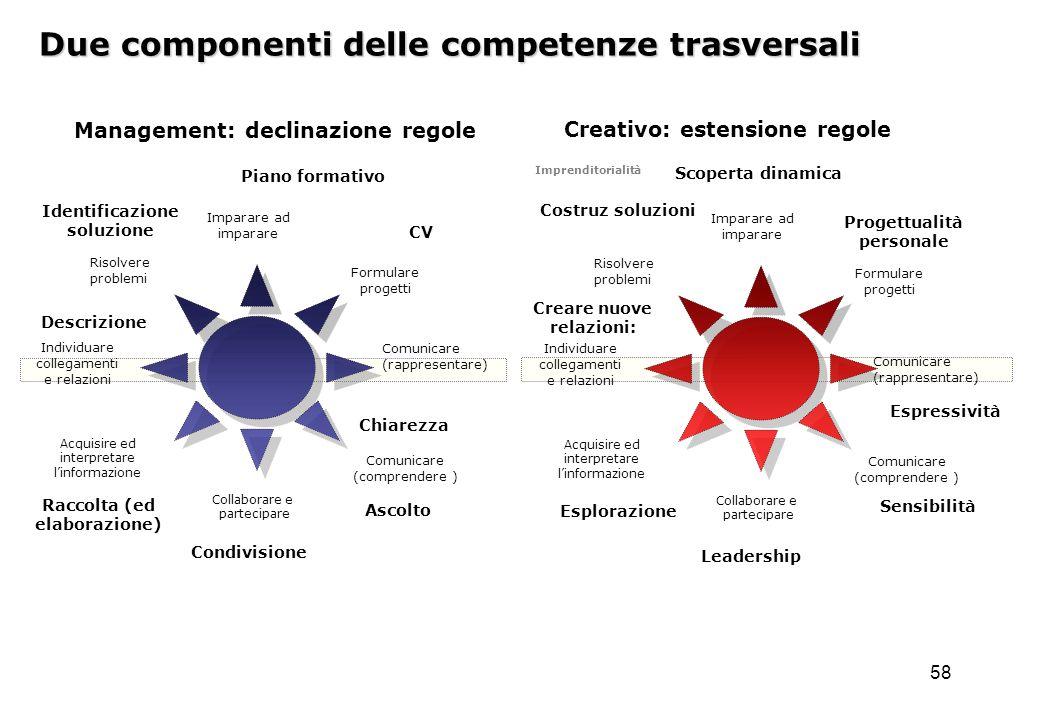 58 Due componenti delle competenze trasversali Imparare ad imparare Formulare progetti Comunicare (rappresentare) Collaborare e partecipare Comunicare