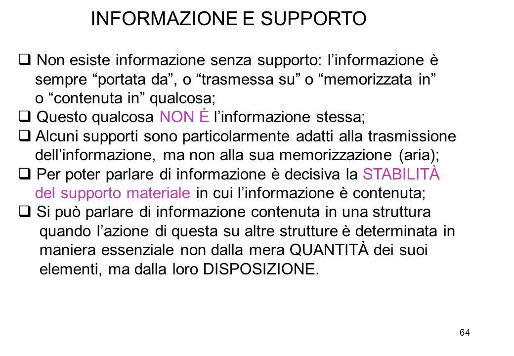 """64 INFORMAZIONE E SUPPORTO  Non esiste informazione senza supporto: l'informazione è sempre """"portata da"""", o """"trasmessa su"""" o """"memorizzata in"""" o """"cont"""