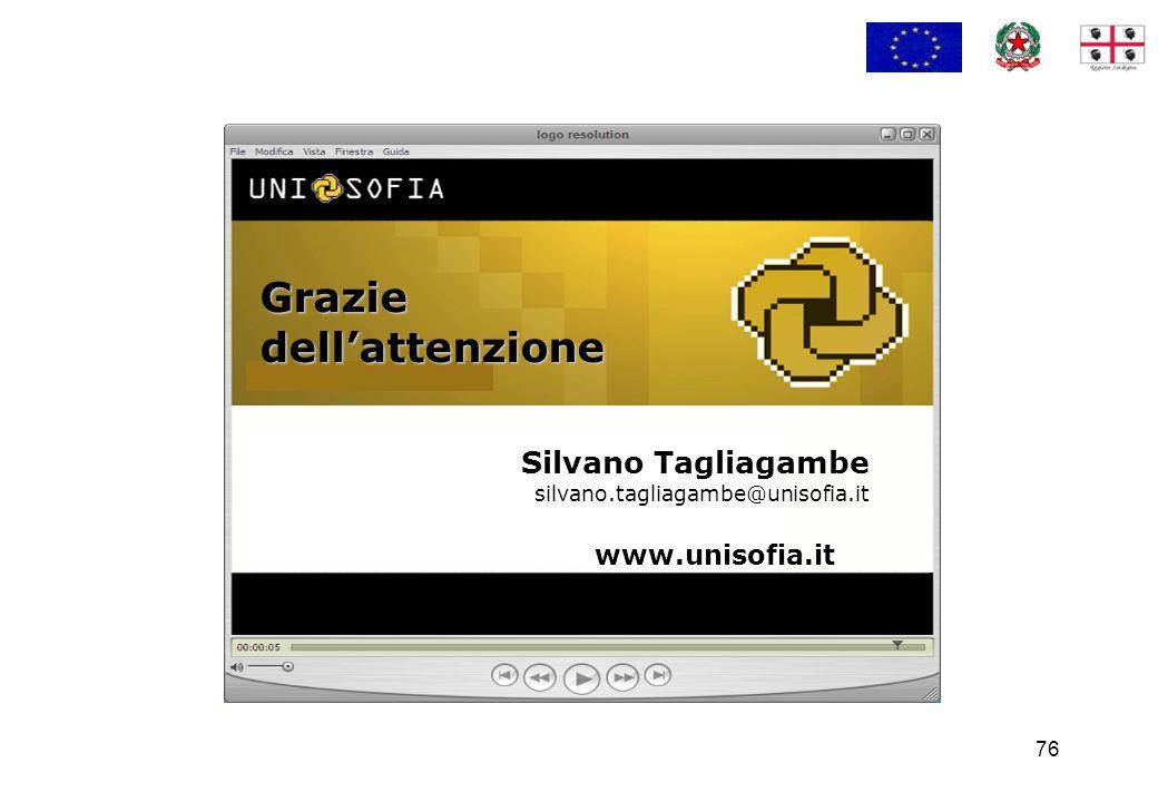 76 Silvano Tagliagambe silvano.tagliagambe@unisofia.it Grazie dell'attenzione www.unisofia.it