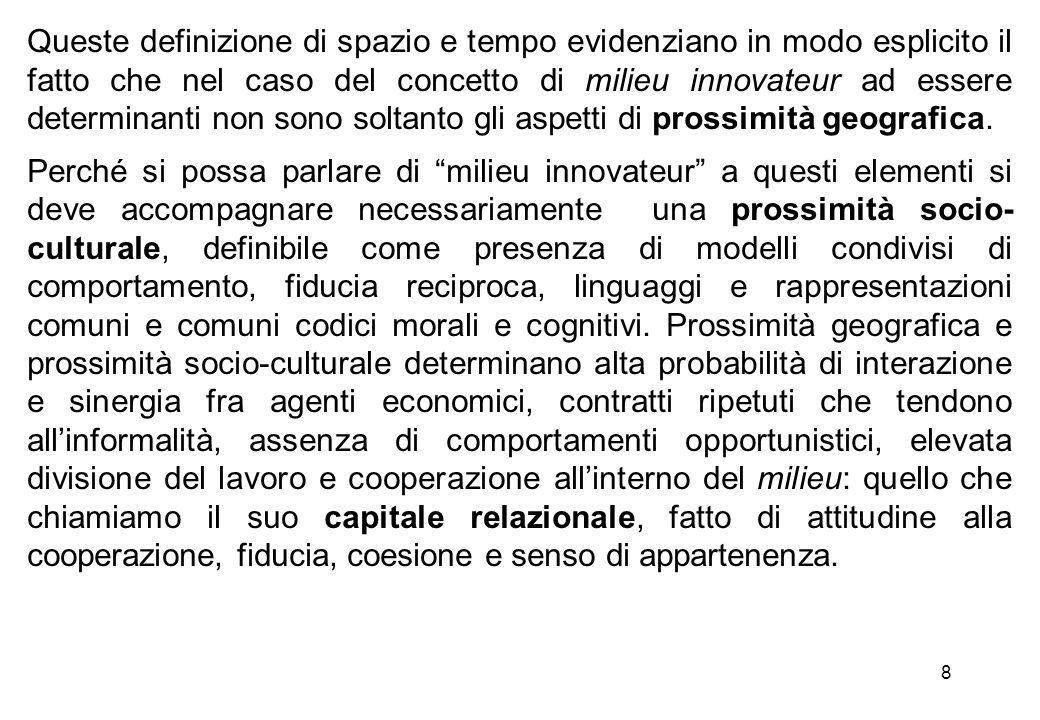 8 Queste definizione di spazio e tempo evidenziano in modo esplicito il fatto che nel caso del concetto di milieu innovateur ad essere determinanti no