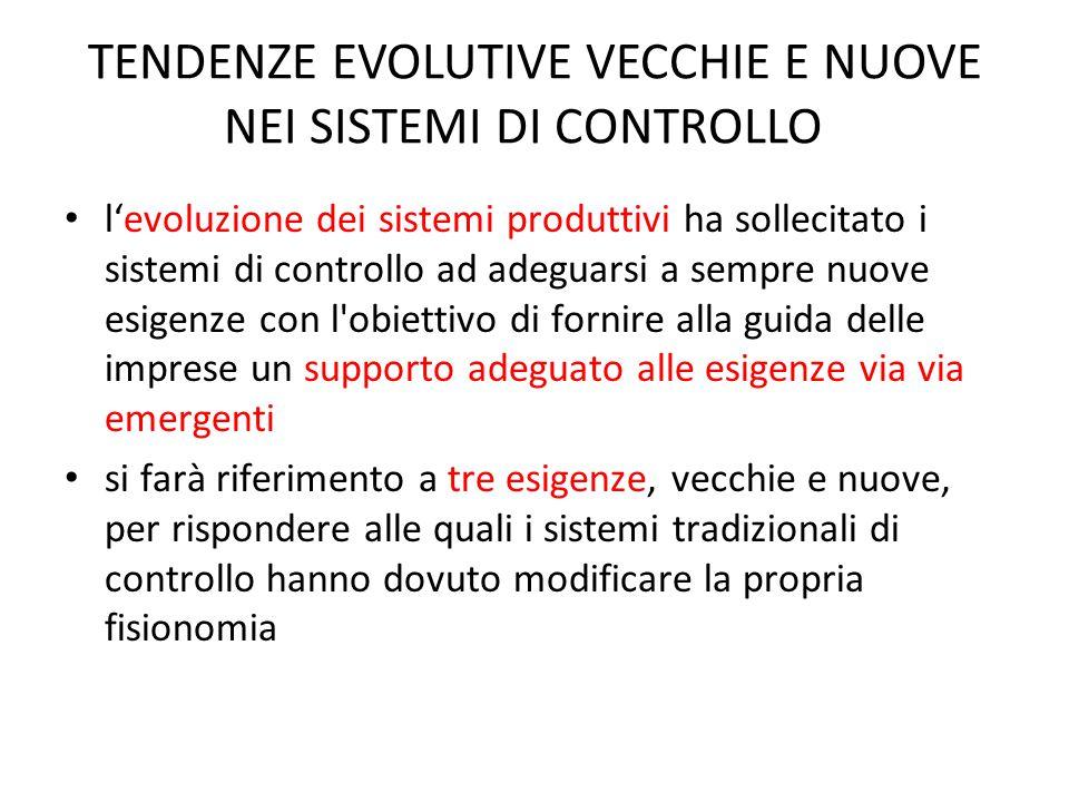 TENDENZE EVOLUTIVE VECCHIE E NUOVE NEI SISTEMI DI CONTROLLO l'evoluzione dei sistemi produttivi ha sollecitato i sistemi di controllo ad adeguarsi a s