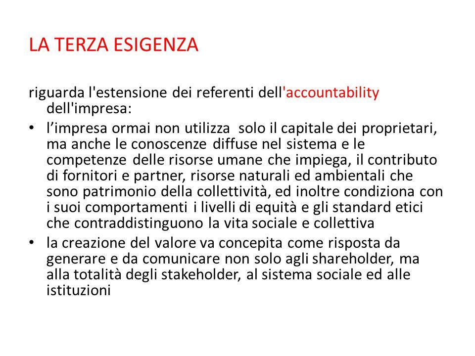 LA TERZA ESIGENZA riguarda l'estensione dei referenti dell'accountability dell'impresa: l'impresa ormai non utilizza solo il capitale dei proprietari,
