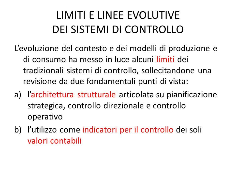 LIMITI E LINEE EVOLUTIVE DEI SISTEMI DI CONTROLLO L'evoluzione del contesto e dei modelli di produzione e di consumo ha messo in luce alcuni limiti de