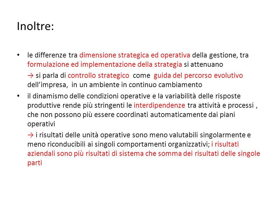 Inoltre: le differenze tra dimensione strategica ed operativa della gestione, tra formulazione ed implementazione della strategia si attenuano → si pa