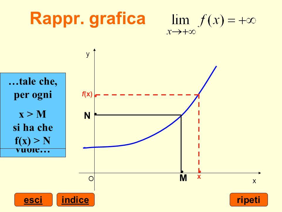 indiceesci x y O Scelto un numero positivo N grande quanto si vuole… …è possibile determinare un numero M > 0… …tale che, per ogni x > M si ha che f(x