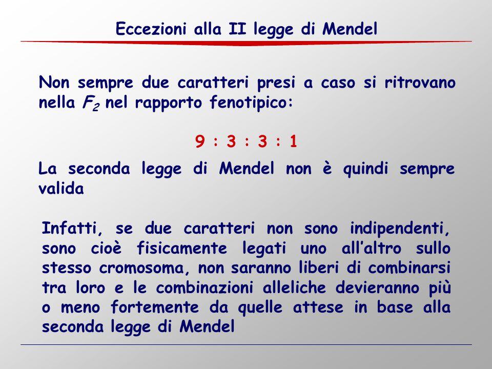 Eccezioni alla II legge di Mendel Non sempre due caratteri presi a caso si ritrovano nella F 2 nel rapporto fenotipico: 9 : 3 : 3 : 1 La seconda legge