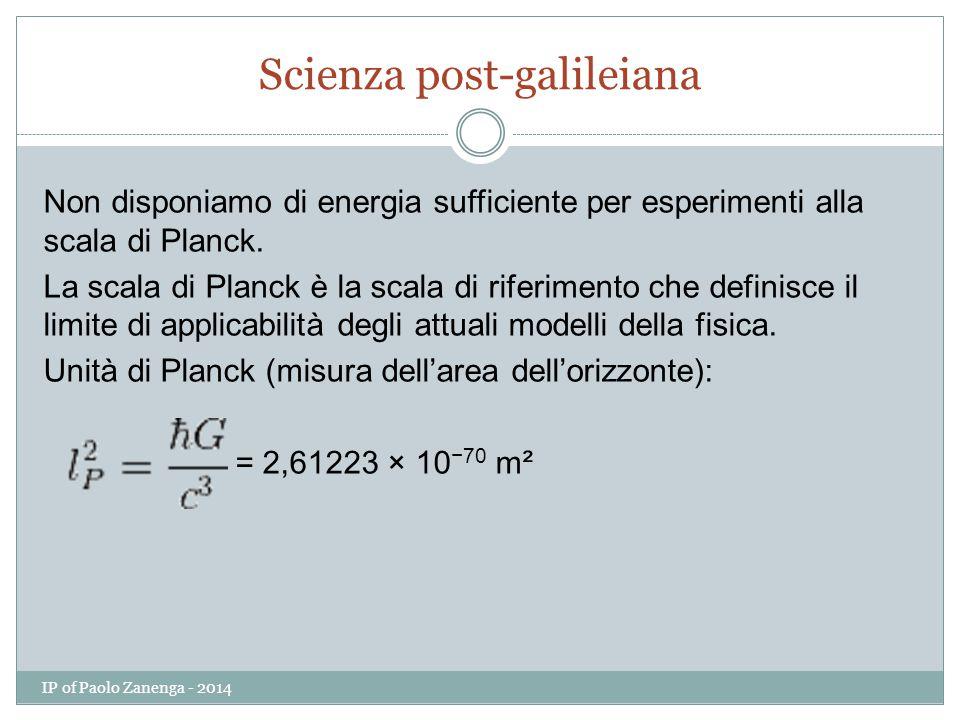 Scienza post-galileiana Non disponiamo di energia sufficiente per esperimenti alla scala di Planck.