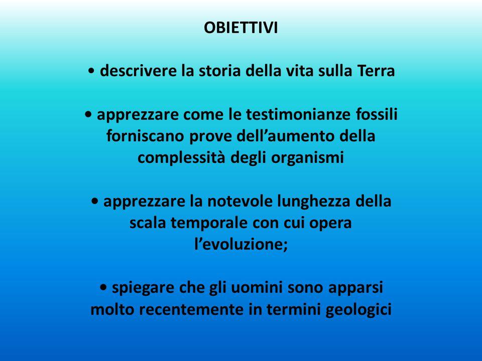 OBIETTIVI descrivere la storia della vita sulla Terra apprezzare come le testimonianze fossili forniscano prove dell'aumento della complessità degli o