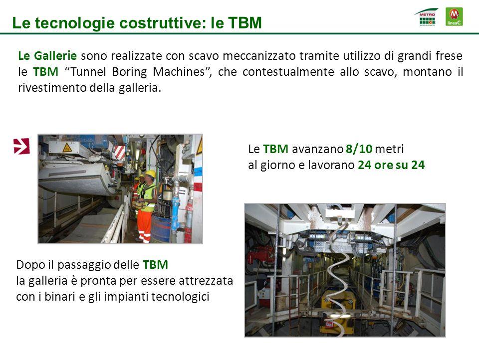 """Le Gallerie sono realizzate con scavo meccanizzato tramite utilizzo di grandi frese le TBM """"Tunnel Boring Machines"""", che contestualmente allo scavo, m"""