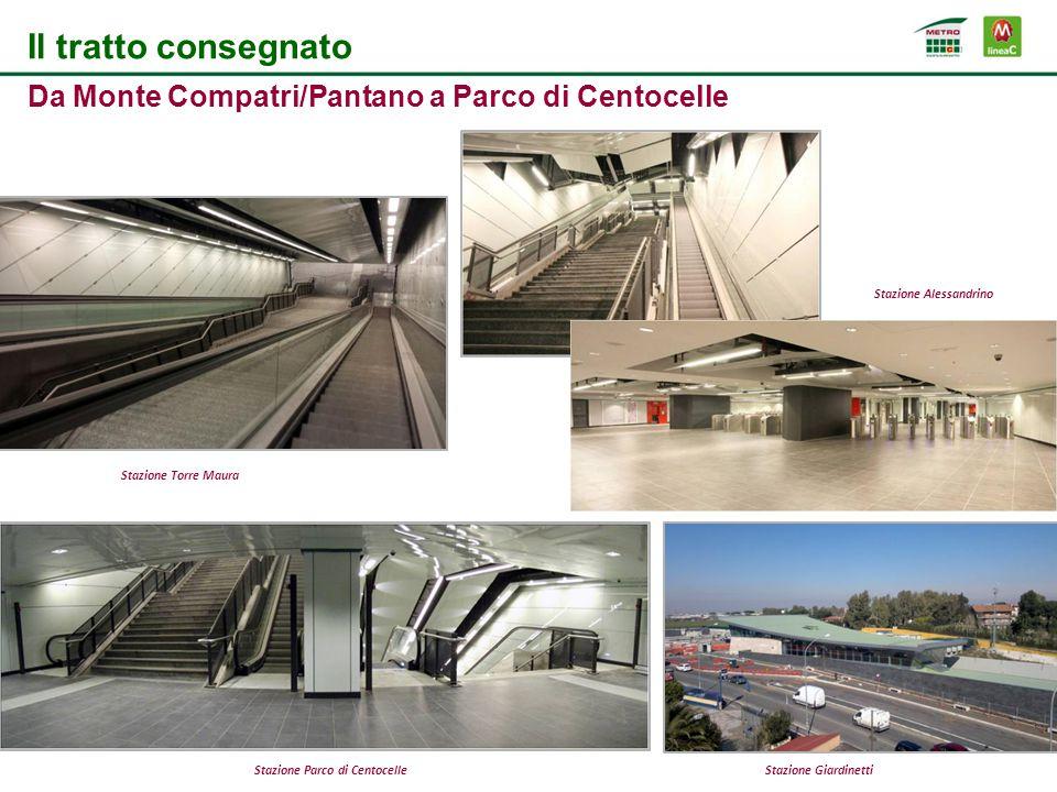 Il tratto consegnato Da Monte Compatri/Pantano a Parco di Centocelle Stazione Torre Maura Stazione Alessandrino Stazione Parco di CentocelleStazione Giardinetti