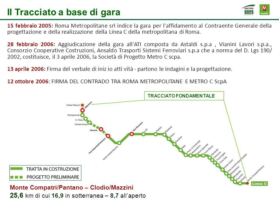 Il Tracciato a base di gara TRACCIATO FONDAMENTALE 15 febbraio 2005: Roma Metropolitane srl indice la gara per l affidamento al Contraente Generale della progettazione e della realizzazione della Linea C della metropolitana di Roma.