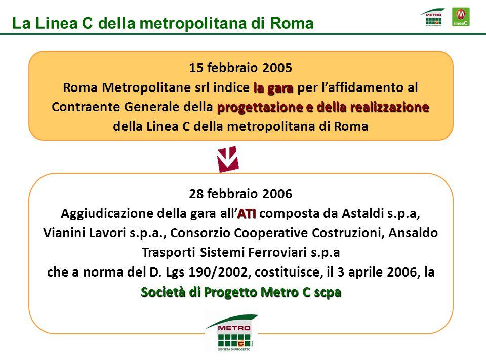La Linea C: lo stato di avanzamento Tratta Funzionale: Lo stato di avanzamento delle attività previste per la realizzazione della prima Tratta Funzionale: stazione Monte Compatri Pantano - San Giovanni è del 93%.