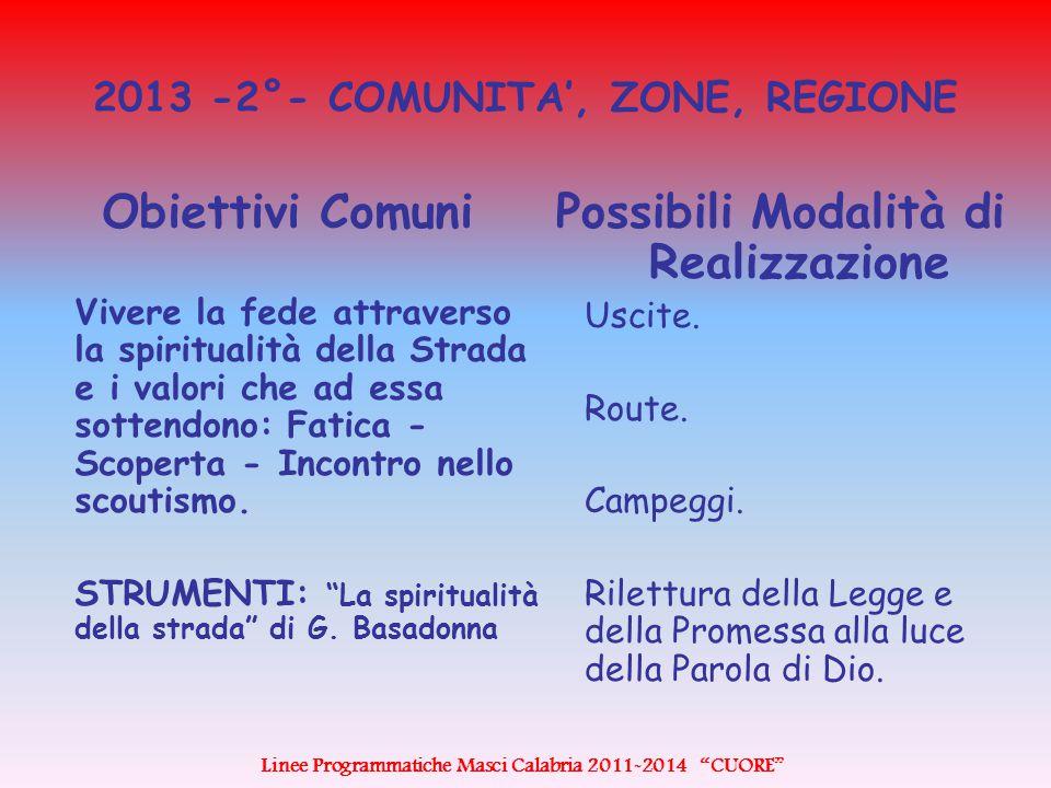2013 -2°- COMUNITA', ZONE, REGIONE Obiettivi Comuni Vivere la fede attraverso la spiritualità della Strada e i valori che ad essa sottendono: Fatica - Scoperta - Incontro nello scoutismo.