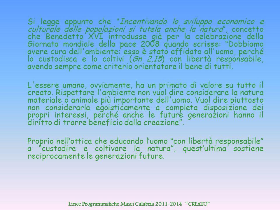 """Si legge appunto che """"Incentivando lo sviluppo economico e culturale delle popolazioni si tutela anche la natura"""", concetto che Benedetto XVI introdus"""