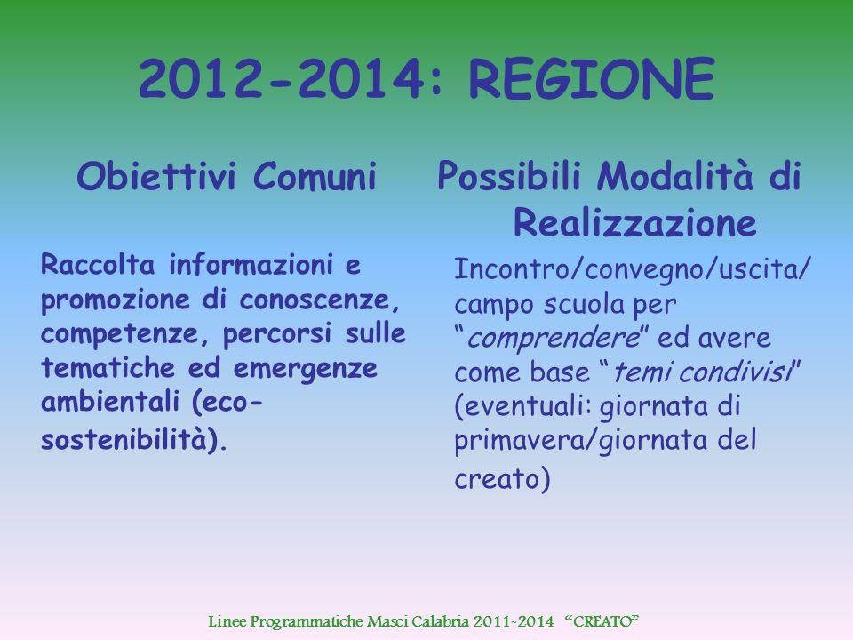 2012-2014: REGIONE Obiettivi Comuni Raccolta informazioni e promozione di conoscenze, competenze, percorsi sulle tematiche ed emergenze ambientali (eco- sostenibilità).
