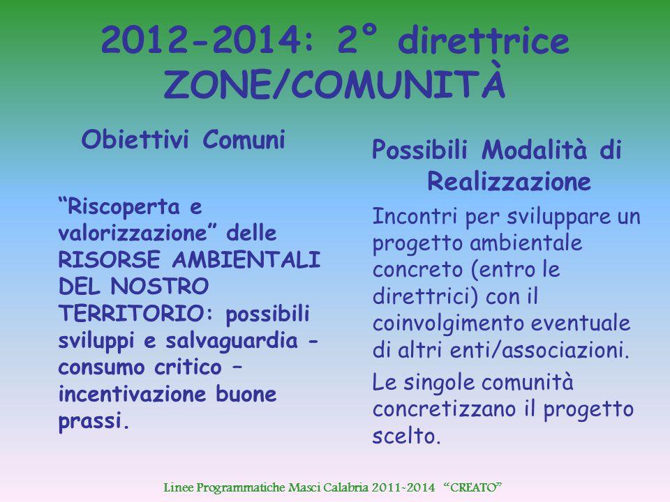 """2012-2014: 2° direttrice ZONE/COMUNITÀ Obiettivi Comuni """"Riscoperta e valorizzazione"""" delle RISORSE AMBIENTALI DEL NOSTRO TERRITORIO: possibili svilup"""