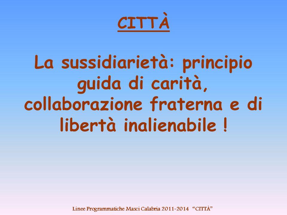 CITTÀ La sussidiarietà: principio guida di carità, collaborazione fraterna e di libertà inalienabile .
