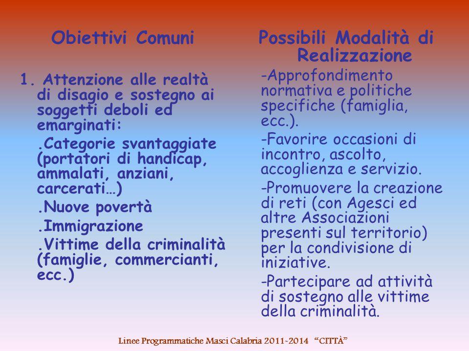 Obiettivi Comuni 1.