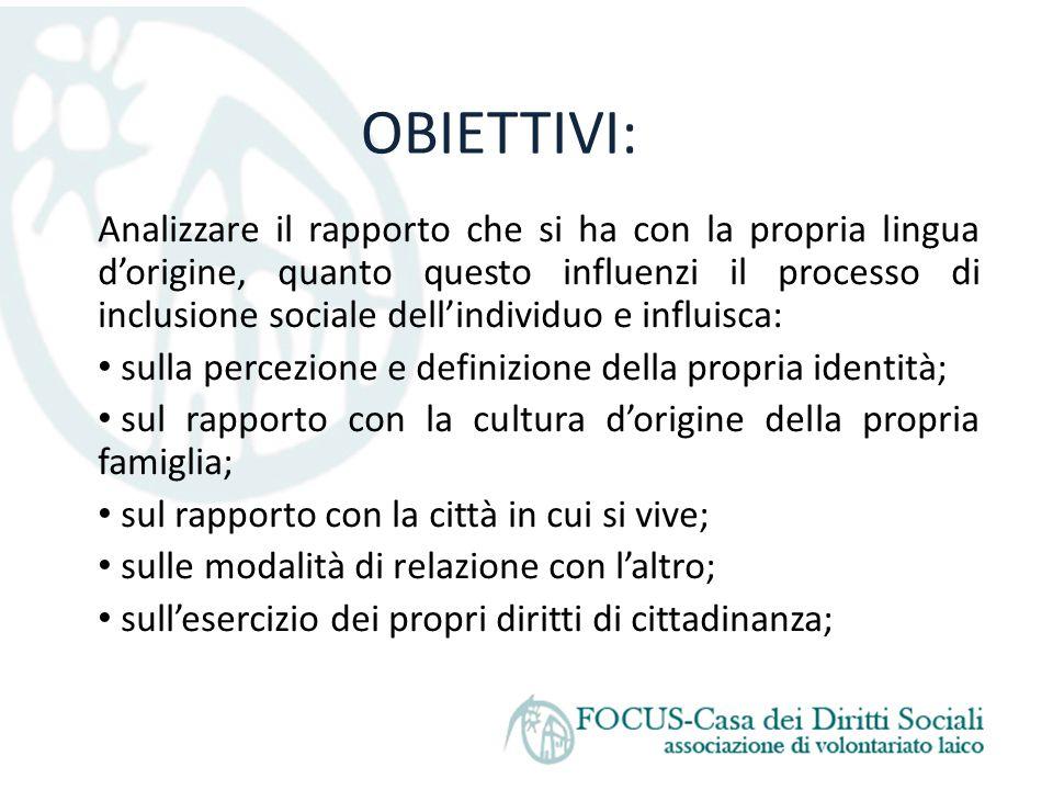 OBIETTIVI: Analizzare il rapporto che si ha con la propria lingua d'origine, quanto questo influenzi il processo di inclusione sociale dell'individuo