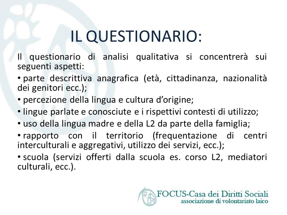 IL QUESTIONARIO: Il questionario di analisi qualitativa si concentrerà sui seguenti aspetti: parte descrittiva anagrafica (età, cittadinanza, nazional