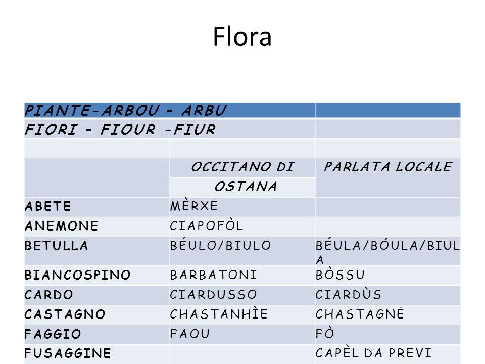Flora PIANTE-ARBOU – ARBU FIORI – FIOUR -FIUR OCCITANO DIPARLATA LOCALE OSTANA ABETEMÈRXE ANEMONECIAPOFÒL BETULLABÉULO/BIULOBÉULA/BÓULA/BIUL A BIANCOS
