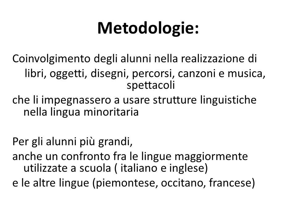 Metodologie: Coinvolgimento degli alunni nella realizzazione di libri, oggetti, disegni, percorsi, canzoni e musica, spettacoli che li impegnassero a