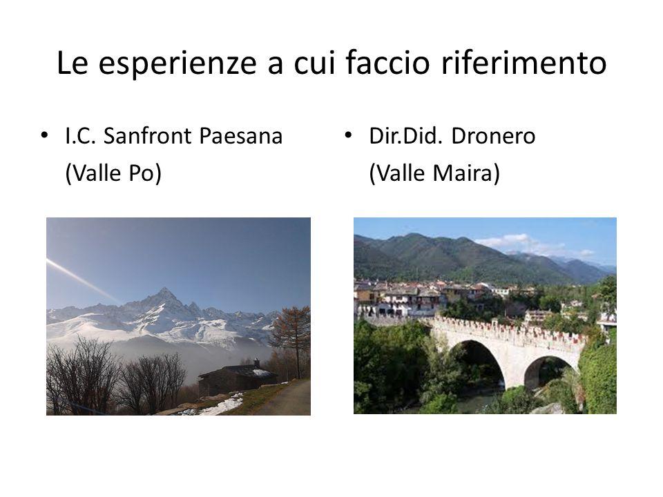Le esperienze a cui faccio riferimento I.C. Sanfront Paesana (Valle Po) Dir.Did. Dronero (Valle Maira)