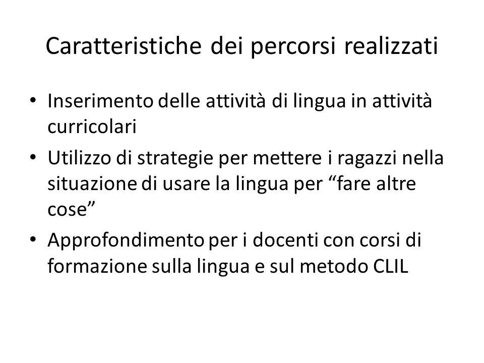 Caratteristiche dei percorsi realizzati Inserimento delle attività di lingua in attività curricolari Utilizzo di strategie per mettere i ragazzi nella