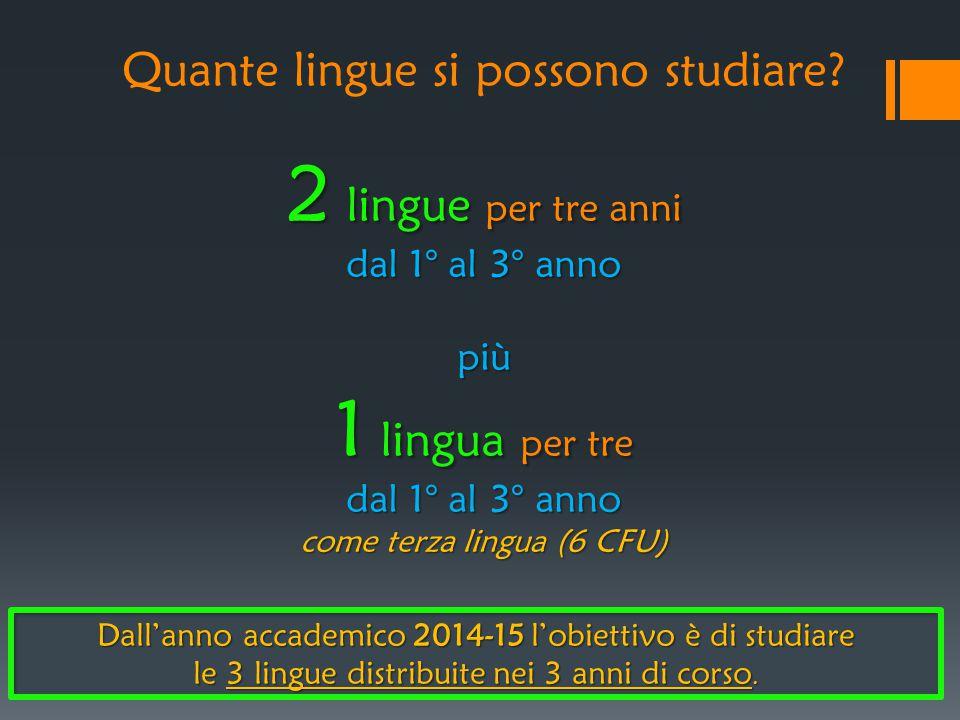 2 lingue per tre anni dal 1° al 3° anno più 1 lingua per tre dal 1° al 3° anno come terza lingua (6 CFU) Quante lingue si possono studiare? 2 lingue p