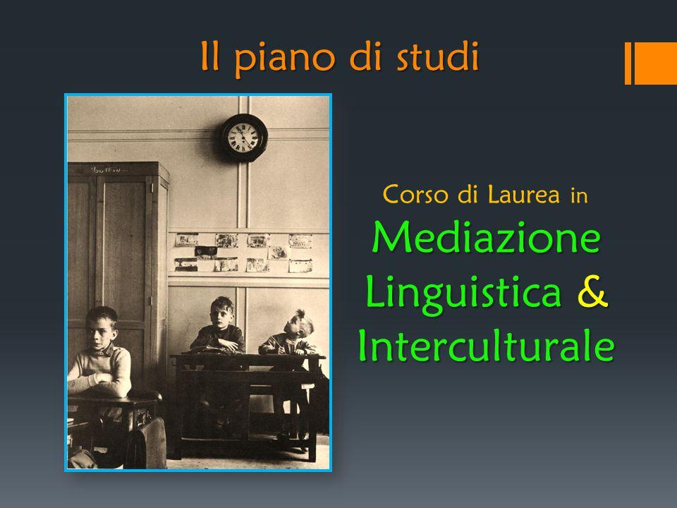 Il piano di studi Corso di Laurea in Mediazione Linguistica & Interculturale