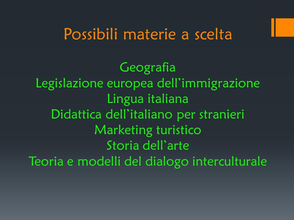 Possibili materie a scelta Geografia Legislazione europea dell'immigrazione Lingua italiana Didattica dell'italiano per stranieri Marketing turistico