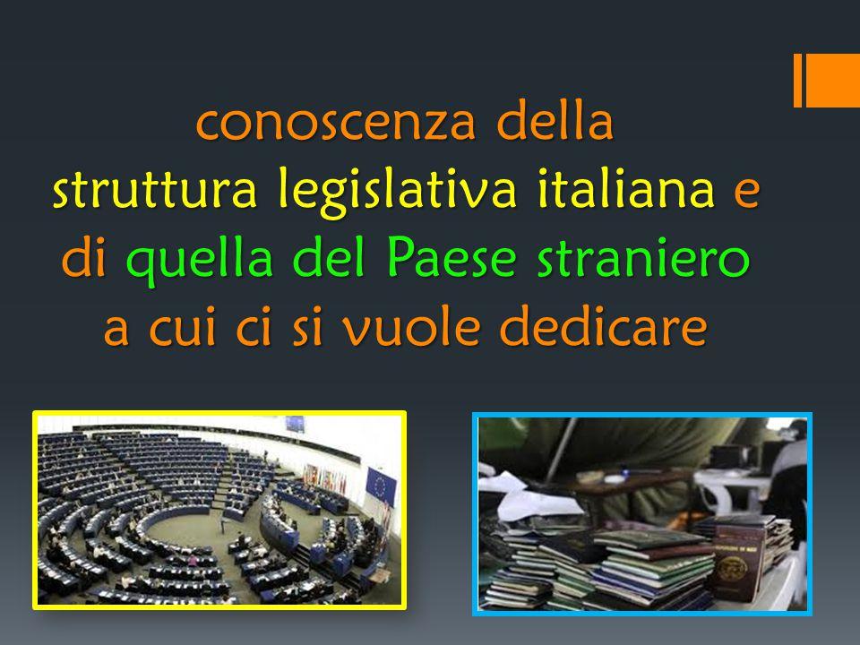 conoscenza della struttura legislativa italiana e di quella del Paese straniero a cui ci si vuole dedicare