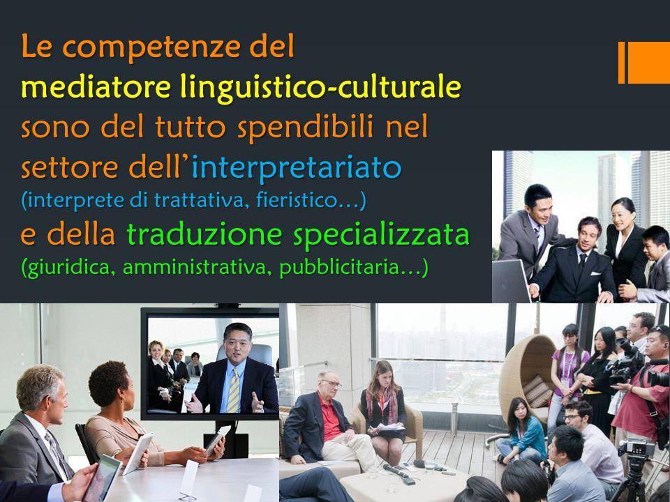 Le competenze del mediatore linguistico-culturale sono del tutto spendibili nel settore dell'interpretariato (interprete di trattativa, fieristico…) e