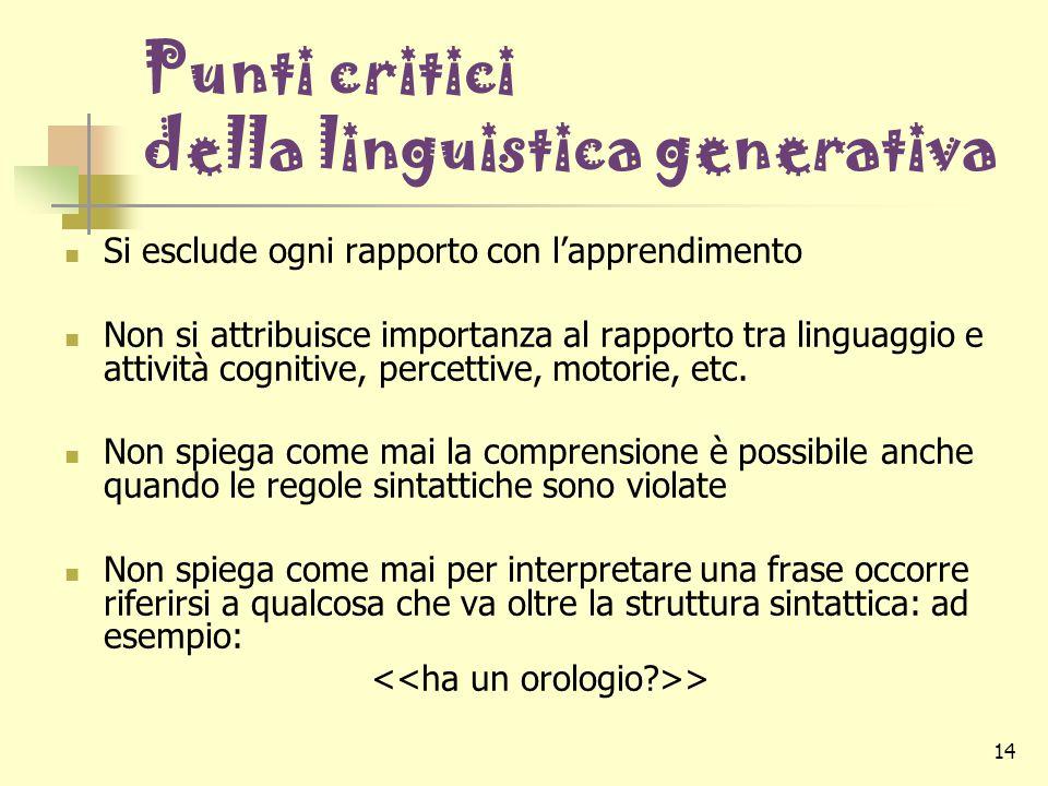 14 Punti critici della linguistica generativa Si esclude ogni rapporto con l'apprendimento Non si attribuisce importanza al rapporto tra linguaggio e