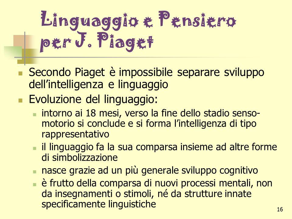16 Linguaggio e Pensiero per J. Piaget Secondo Piaget è impossibile separare sviluppo dell'intelligenza e linguaggio Evoluzione del linguaggio: intorn