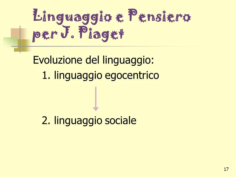 17 Linguaggio e Pensiero per J. Piaget Evoluzione del linguaggio: 1. linguaggio egocentrico 2. linguaggio sociale