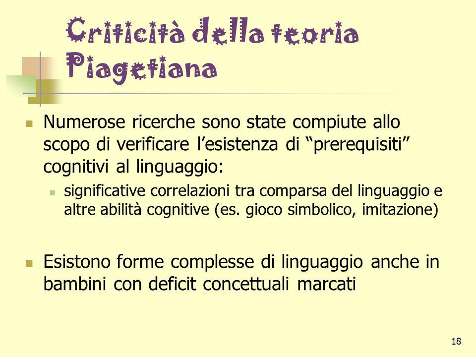 """18 Criticità della teoria Piagetiana Numerose ricerche sono state compiute allo scopo di verificare l'esistenza di """"prerequisiti"""" cognitivi al linguag"""