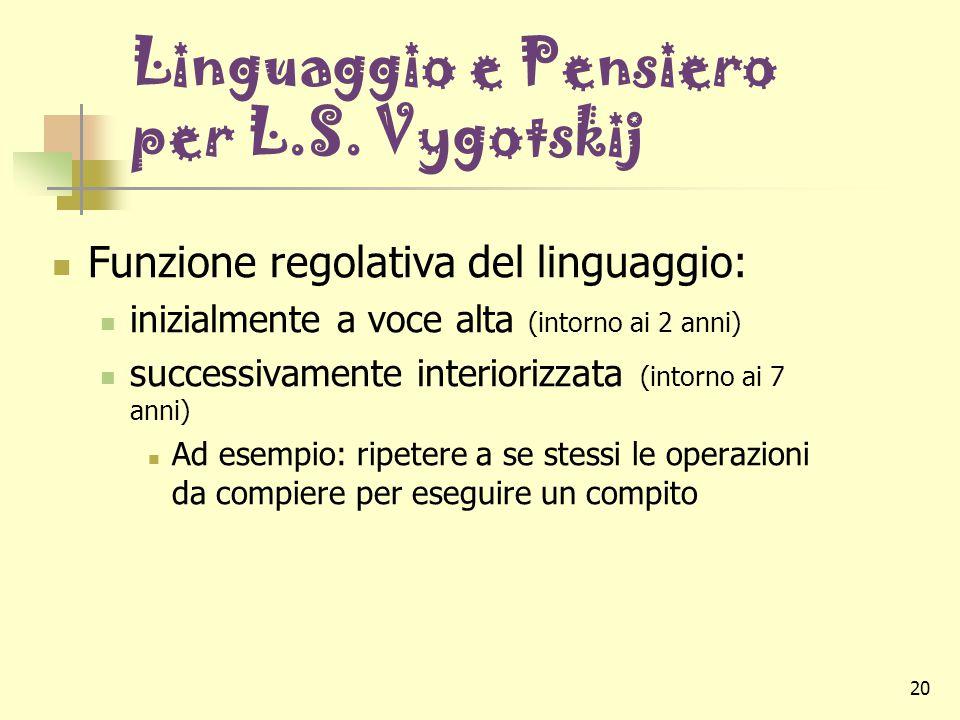 20 Linguaggio e Pensiero per L.S. Vygotskij Funzione regolativa del linguaggio: inizialmente a voce alta (intorno ai 2 anni) successivamente interiori