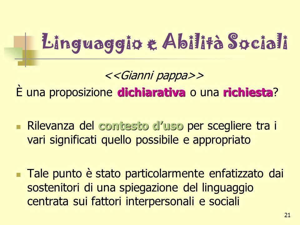 21 Linguaggio e Abilità Sociali > dichiarativarichiesta È una proposizione dichiarativa o una richiesta? contesto d'uso Rilevanza del contesto d'uso p