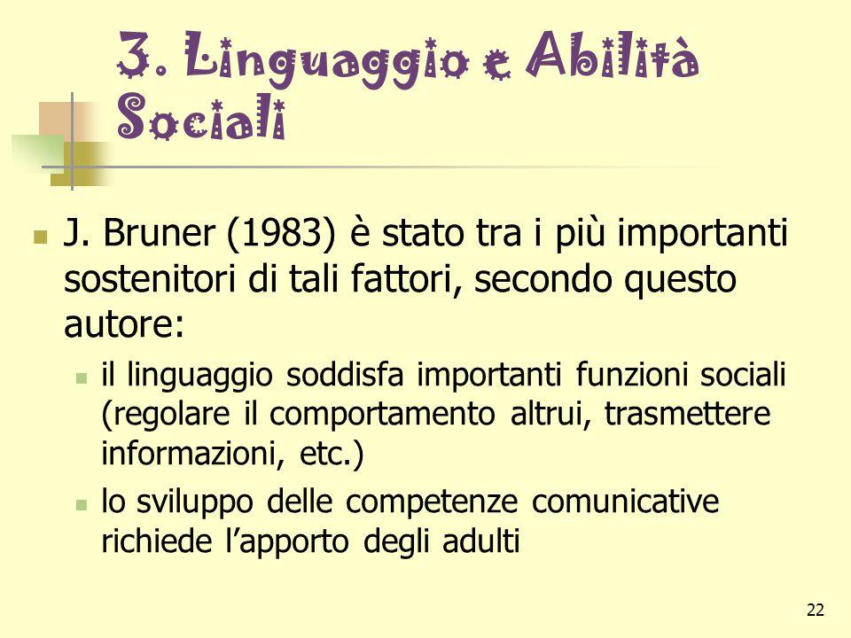 22 3. Linguaggio e Abilità Sociali J. Bruner (1983) è stato tra i più importanti sostenitori di tali fattori, secondo questo autore: il linguaggio sod