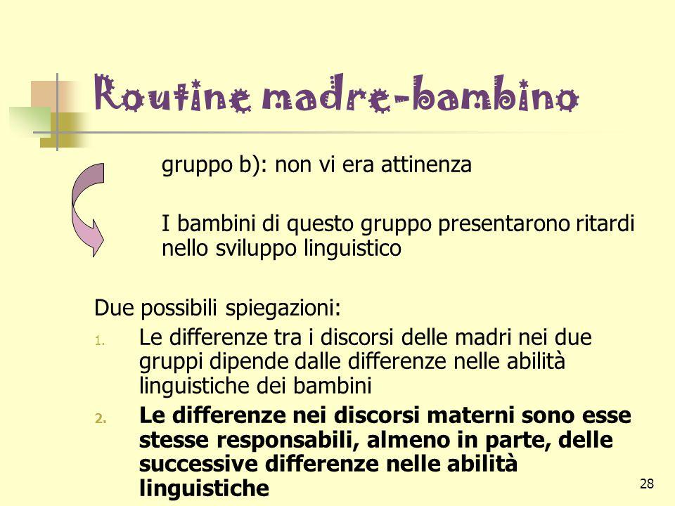 28 Routine madre-bambino gruppo b): non vi era attinenza I bambini di questo gruppo presentarono ritardi nello sviluppo linguistico Due possibili spie