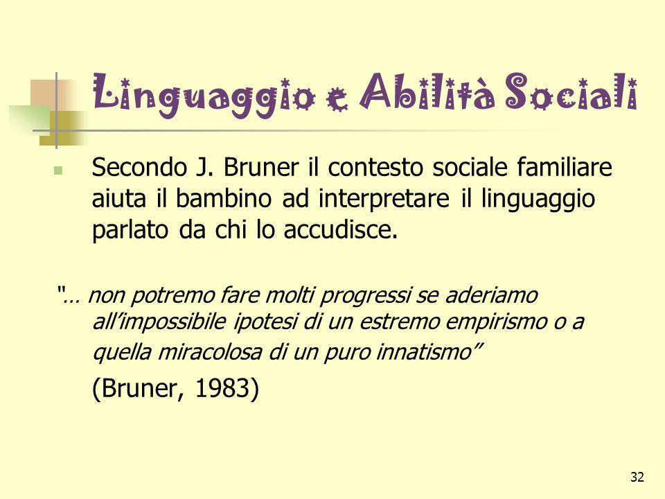 32 Linguaggio e Abilità Sociali Secondo J. Bruner il contesto sociale familiare aiuta il bambino ad interpretare il linguaggio parlato da chi lo accud