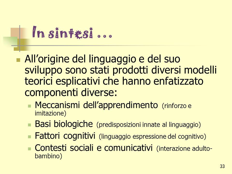33 In sintesi … All'origine del linguaggio e del suo sviluppo sono stati prodotti diversi modelli teorici esplicativi che hanno enfatizzato componenti
