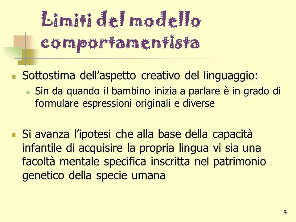 9 Limiti del modello comportamentista Sottostima dell'aspetto creativo del linguaggio: Sin da quando il bambino inizia a parlare è in grado di formula