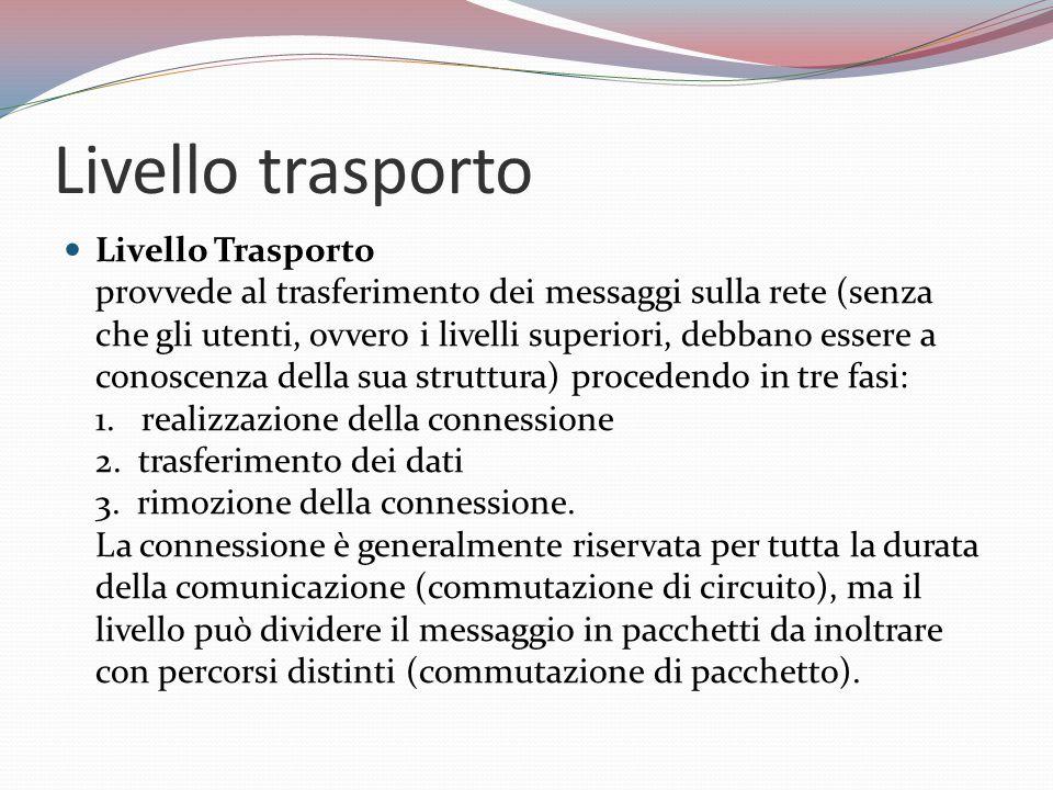 Livello trasporto Livello Trasporto provvede al trasferimento dei messaggi sulla rete (senza che gli utenti, ovvero i livelli superiori, debbano essere a conoscenza della sua struttura) procedendo in tre fasi: 1.